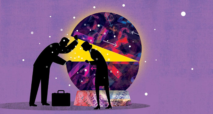 stylized illustration of a man and a woman opening up a globe and looking inside