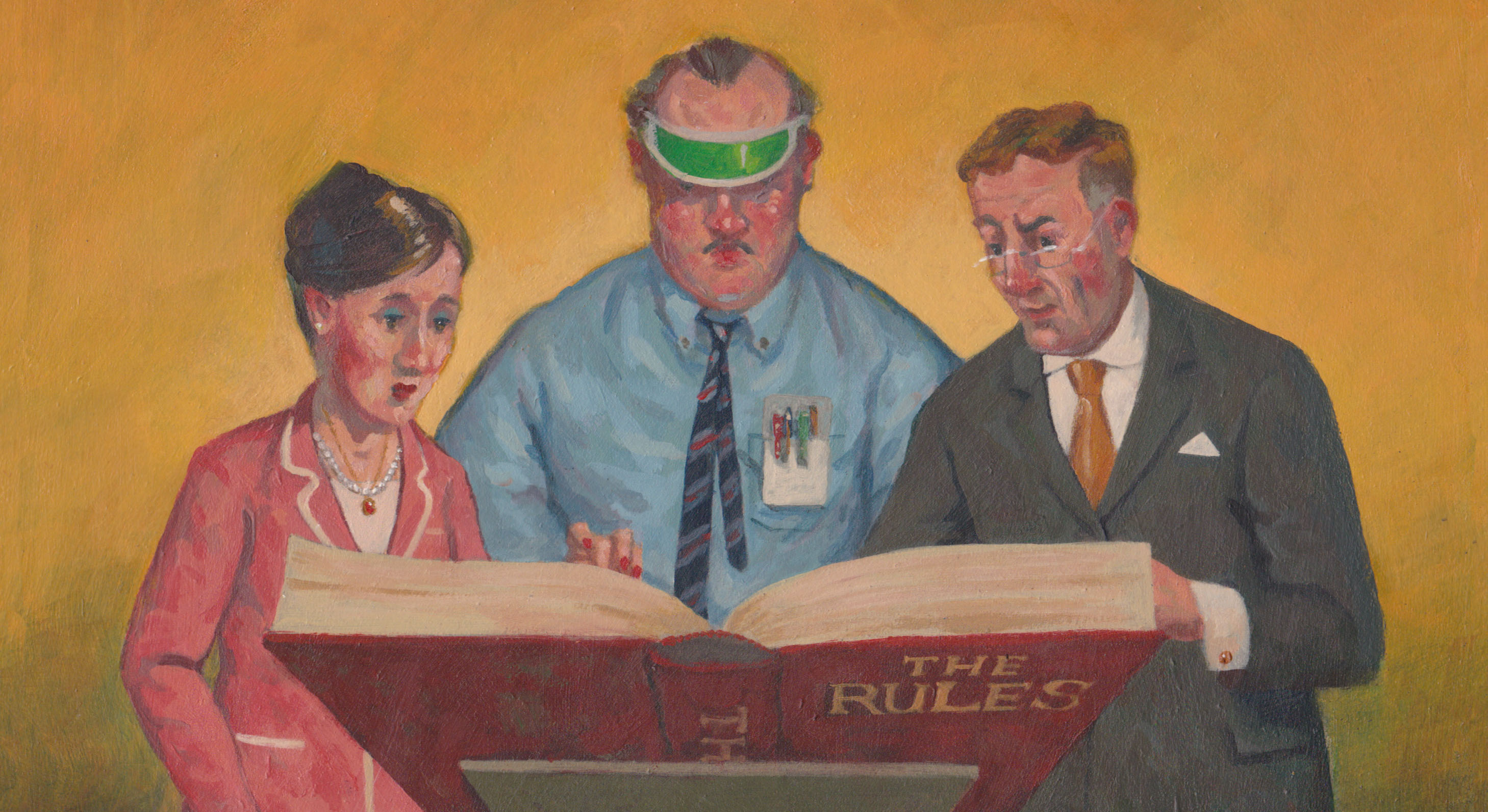 Illustration of 3 people reading from 'the rules' book