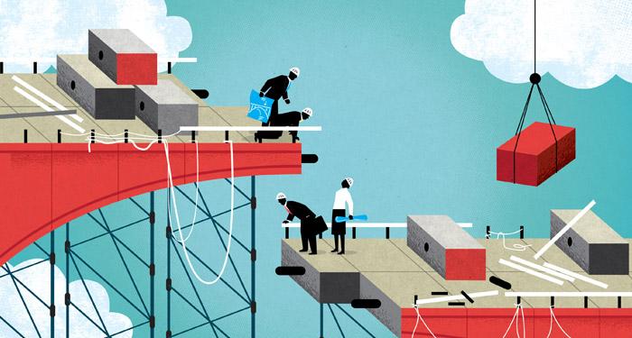 illustration of people building a bridge