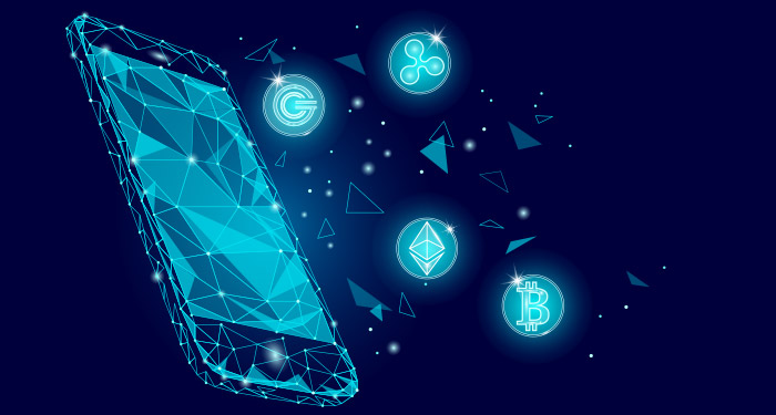 An abstract illustration of a phone on a blue background